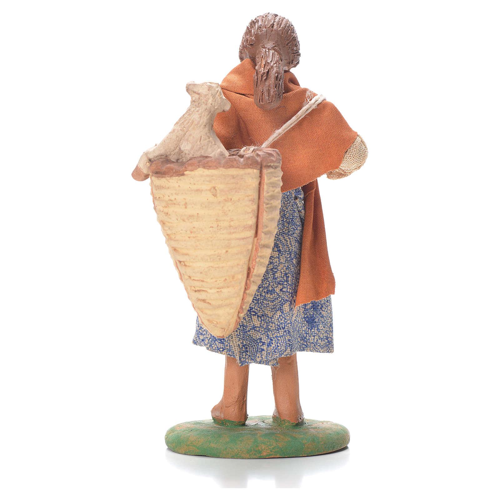 Donna cesto pecora dietro spalle 12 cm presepe Napoli 4