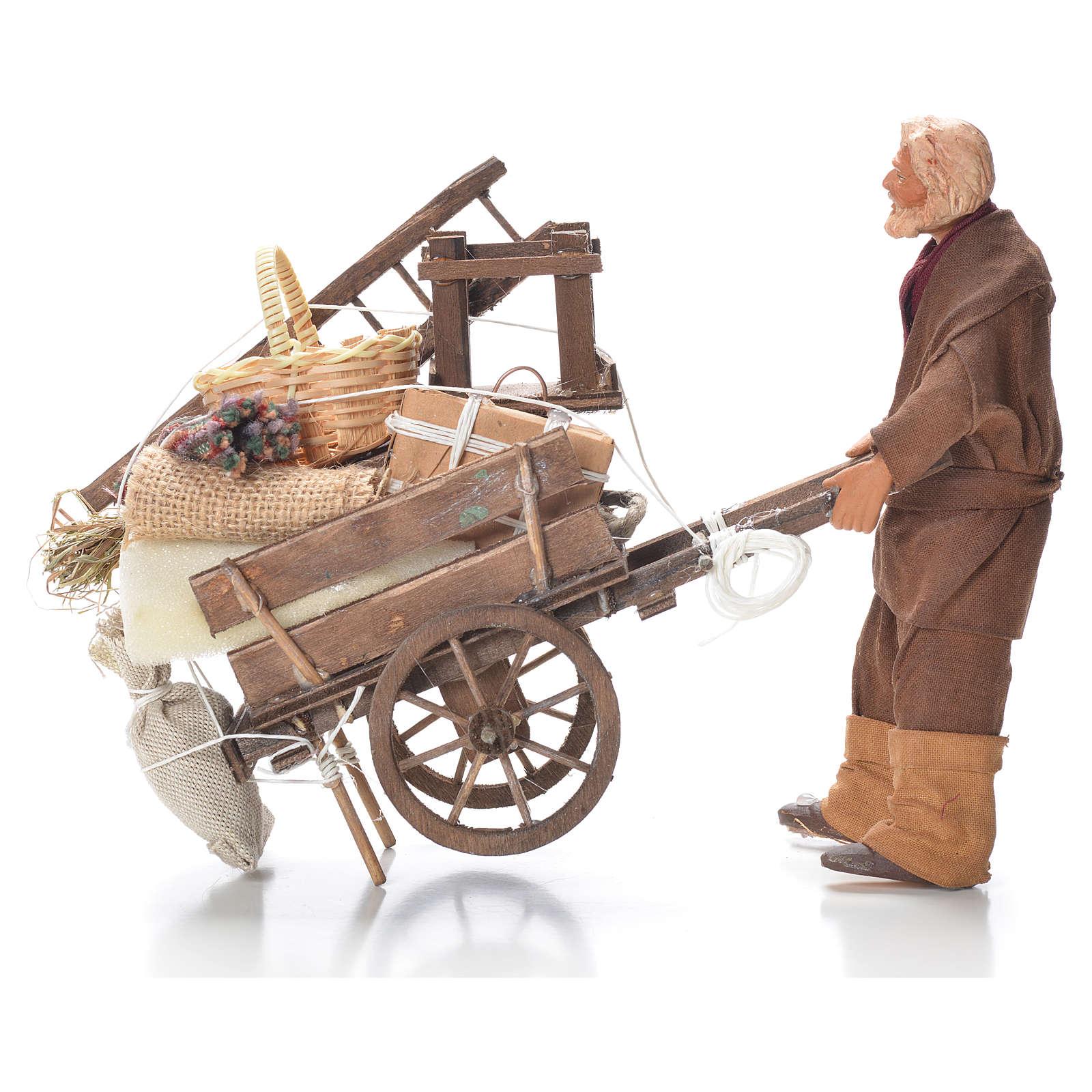 Uomo con carro sfrattato 14 cm presepe Napoli 4