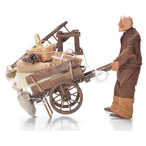 Uomo con carro sfrattato 14 cm presepe Napoli 1