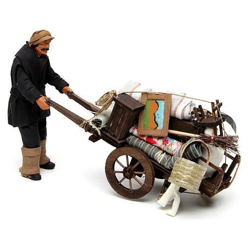 Uomo con carro sfrattato 14 cm presepe Napoli 3