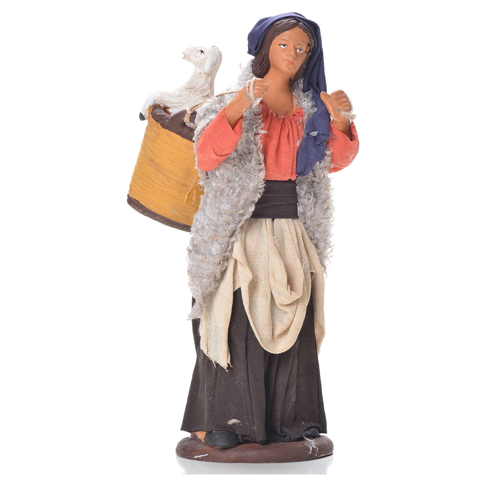 Donna cesto pecora dietro 14 cm presepe napoletano 4