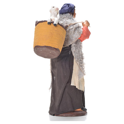 Donna cesto pecora dietro 14 cm presepe napoletano 2