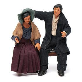 Coppia di fidanzati seduti 12 cm presepe napoletano s1