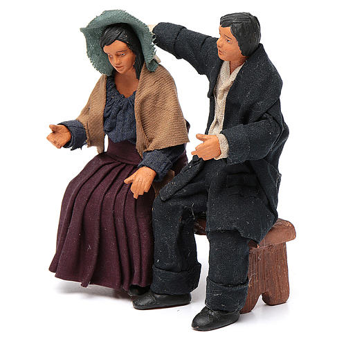 Coppia di fidanzati seduti 12 cm presepe napoletano 2