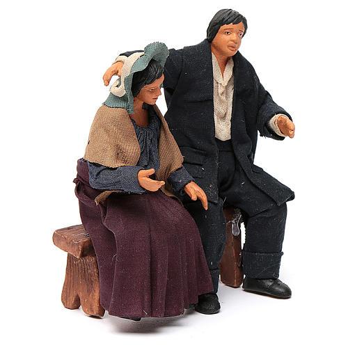 Coppia di fidanzati seduti 12 cm presepe napoletano 3