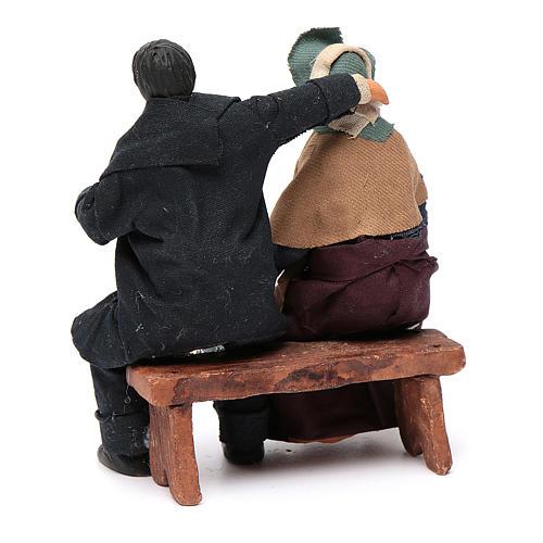 Coppia di fidanzati seduti 12 cm presepe napoletano 4