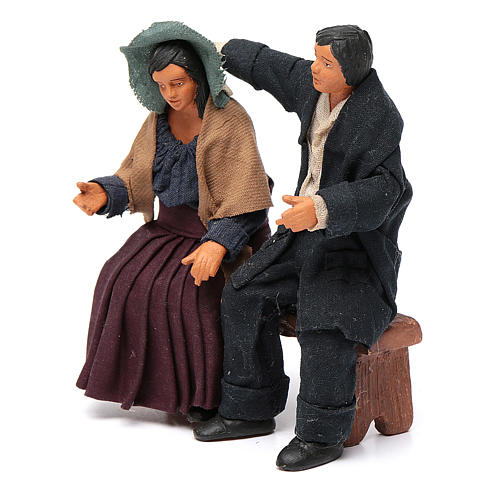 Pair of lovers sitting, Neapolitan Nativity 12cm 2