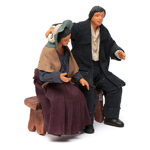 Pair of lovers sitting, Neapolitan Nativity 12cm 3