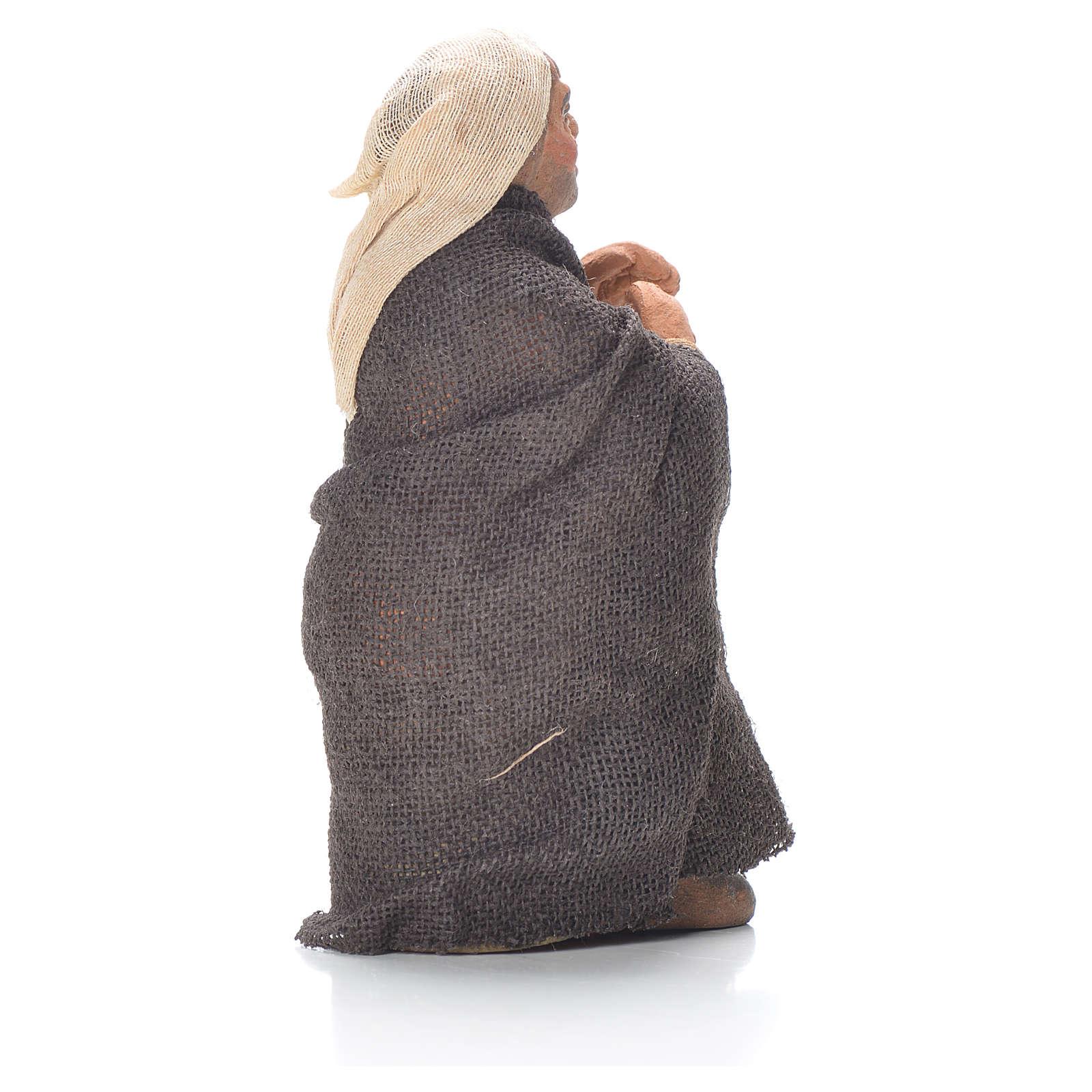 Vieil homme avec canne 10 cm crèche napolitaine 4