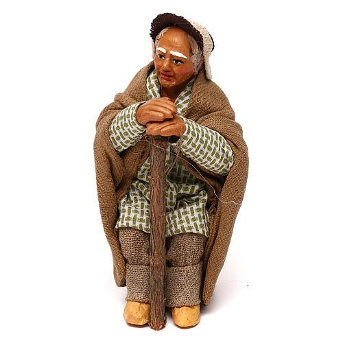 Vieil homme avec canne 10 cm crèche napolitaine 1
