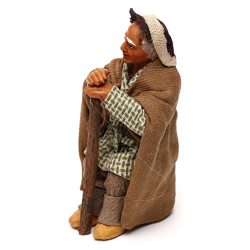Vieil homme avec canne 10 cm crèche napolitaine 2