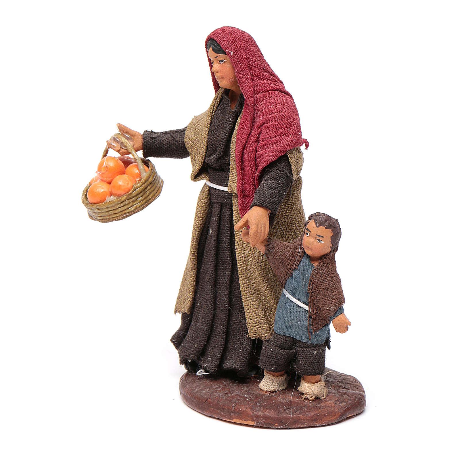Mujer con niño de la mano 10 cm Belén de Nápoles 4