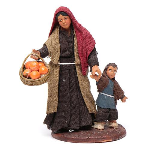 Mujer con niño de la mano 10 cm Belén de Nápoles 1
