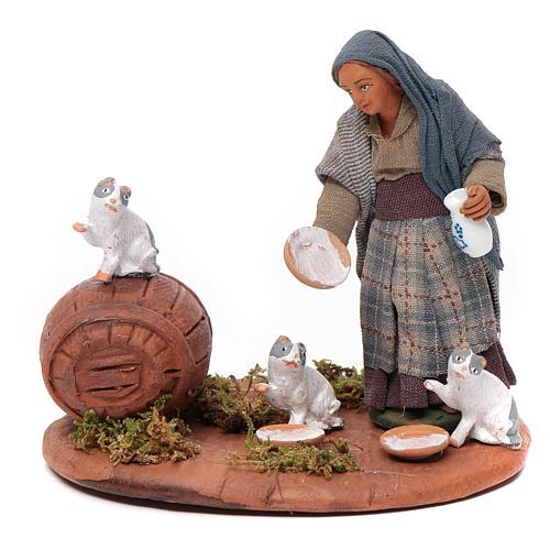 Femme chats de gouttière 10 cm crèche Naples 1