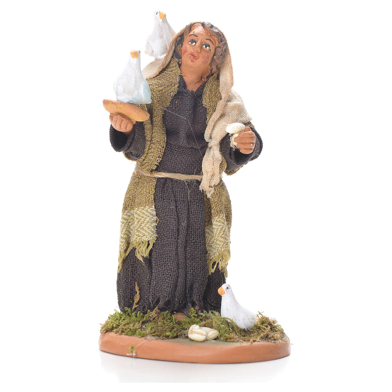Lady with doves, Neapolitan Nativity 10cm 4