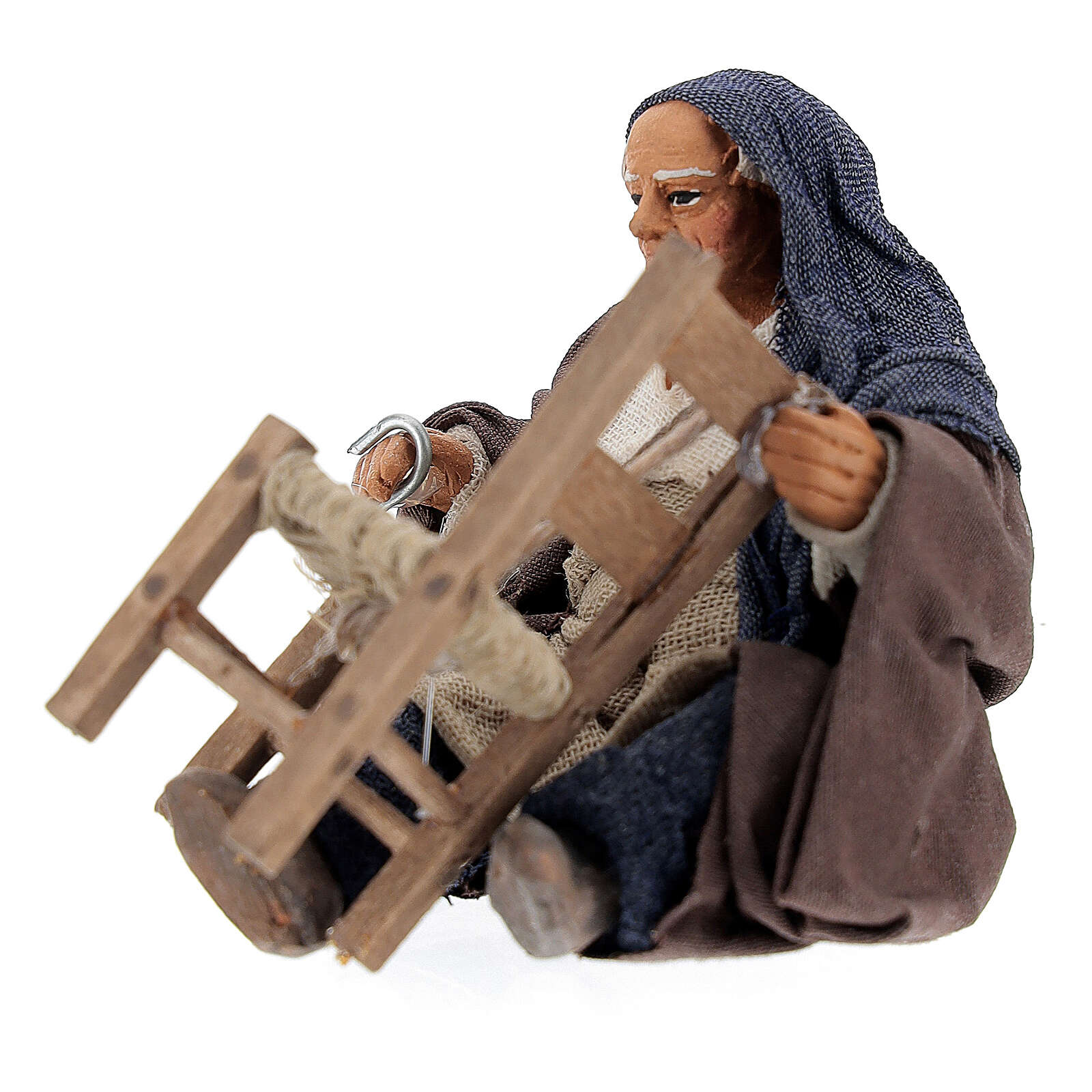 Riparatore di sedie seduto 10 cm presepe Napoli 4