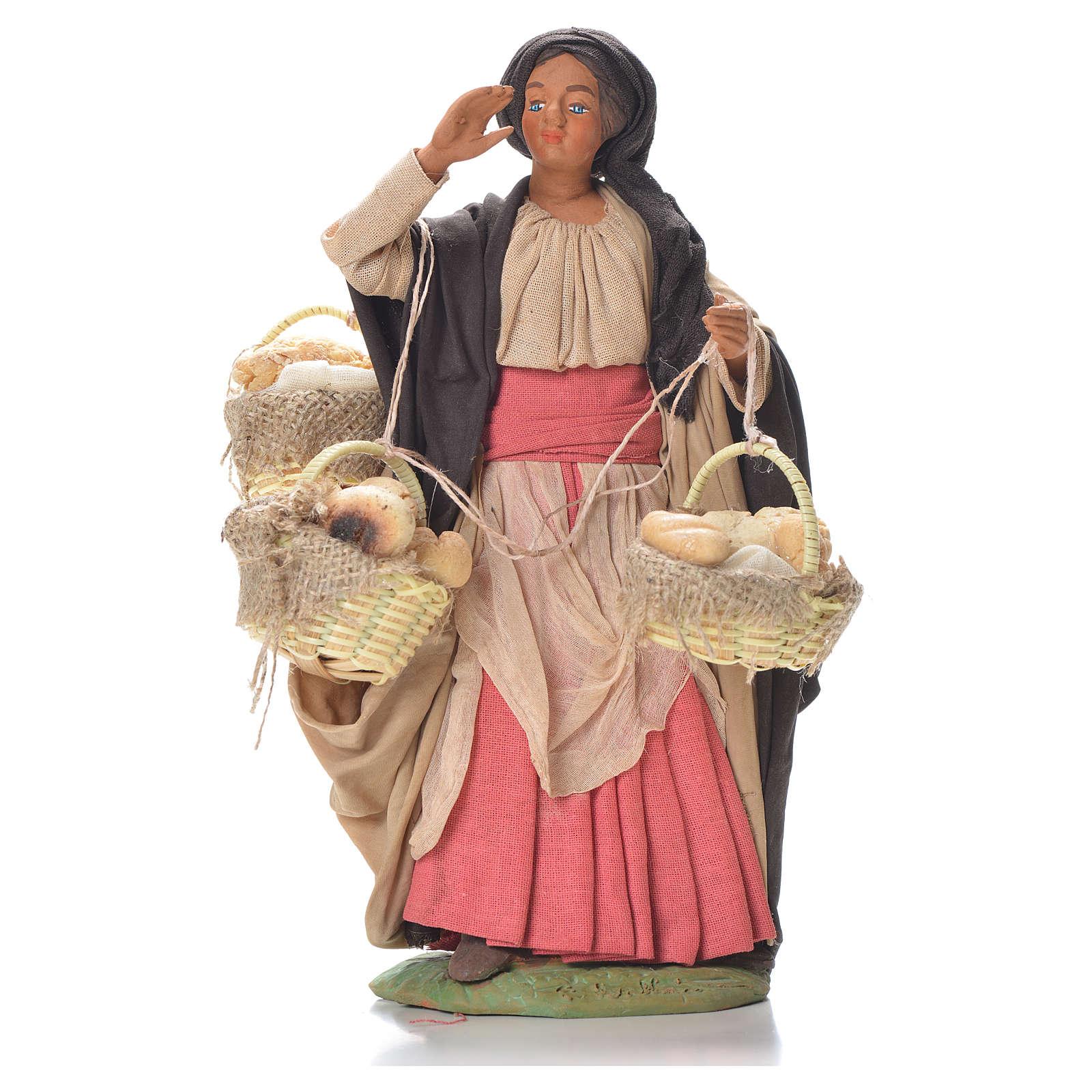 Woman with bread baskets, Neapolitan Nativity 24cm 4