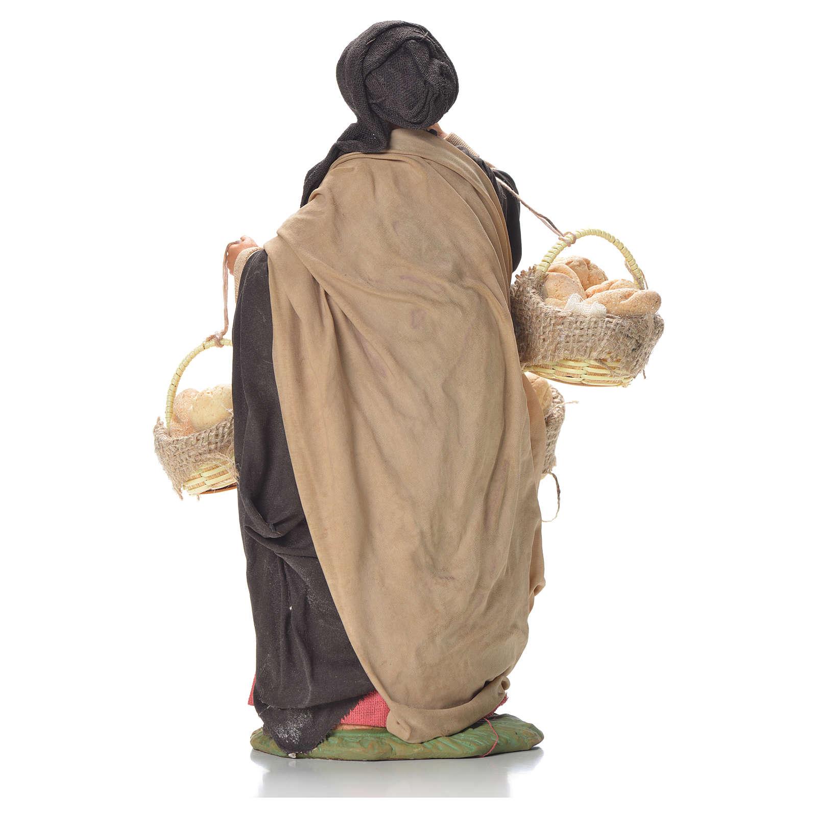 Mulher com cestas de pão 24 cm presépio napolitano 4