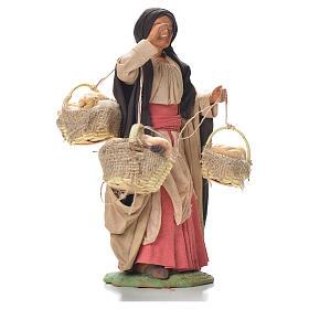 Mulher com cestas de pão 24 cm presépio napolitano s4