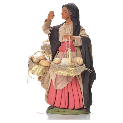 Mulher com cestas de pão 24 cm presépio napolitano 2
