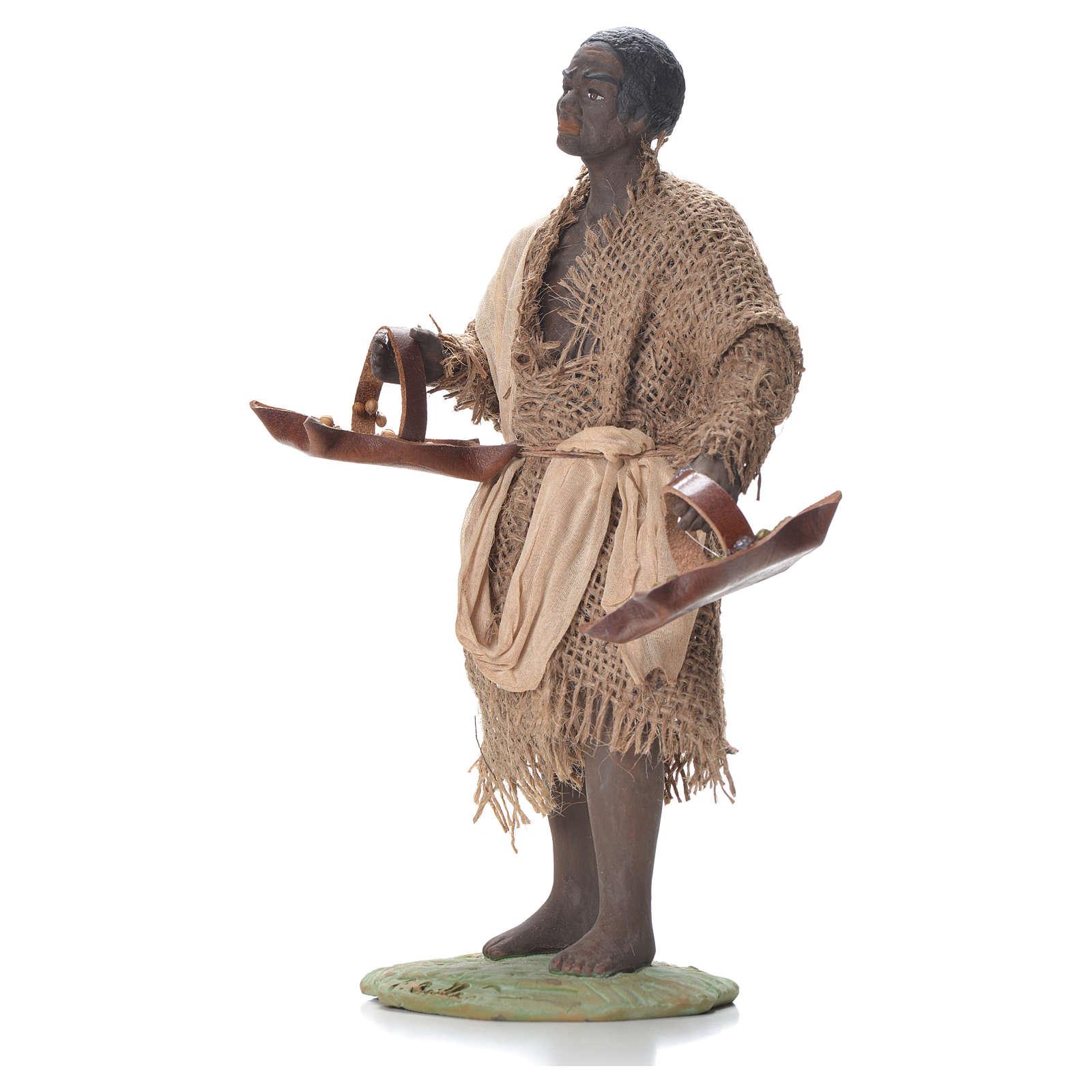 Ragazzo con cesto di cuoio 24 cm presepe Napoli 4