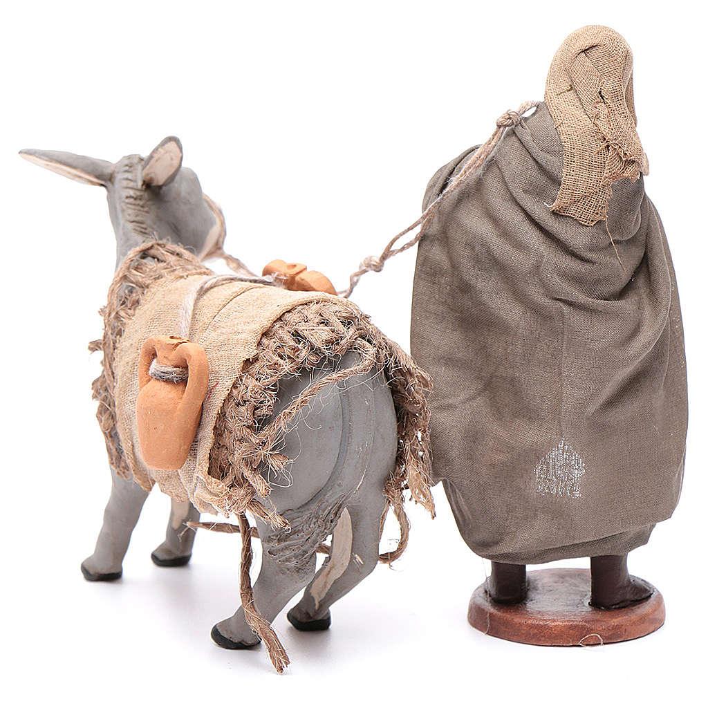 Shepherd pulling donkey 12cm Neapolitan Nativity 4