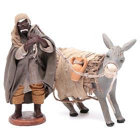 Shepherd pulling donkey 12cm Neapolitan Nativity s1