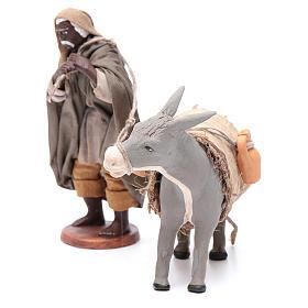 Shepherd pulling donkey 12cm Neapolitan Nativity s2