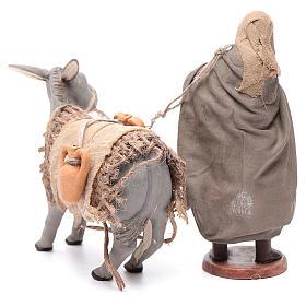 Shepherd pulling donkey 12cm Neapolitan Nativity s4