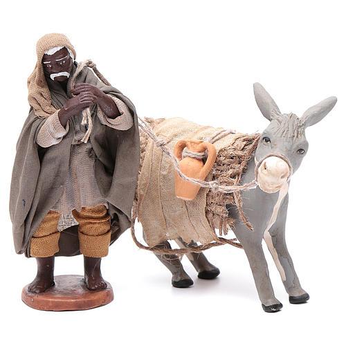 Shepherd pulling donkey 12cm Neapolitan Nativity 1