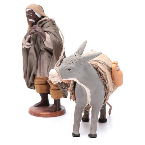 Shepherd pulling donkey 12cm Neapolitan Nativity 2