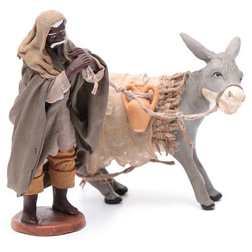 Shepherd pulling donkey 12cm Neapolitan Nativity 3