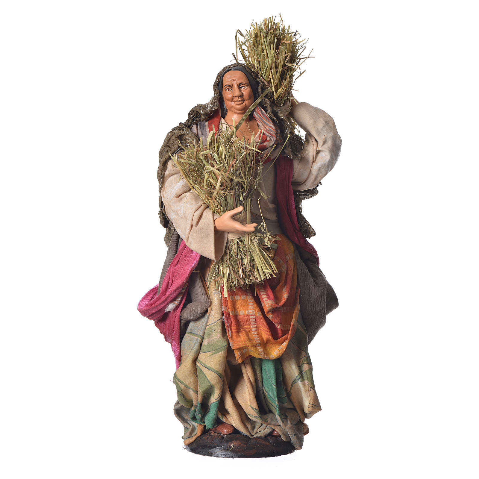 Donna con paglia 30 cm presepe napoletano 4