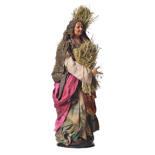 Donna con paglia 30 cm presepe napoletano 3
