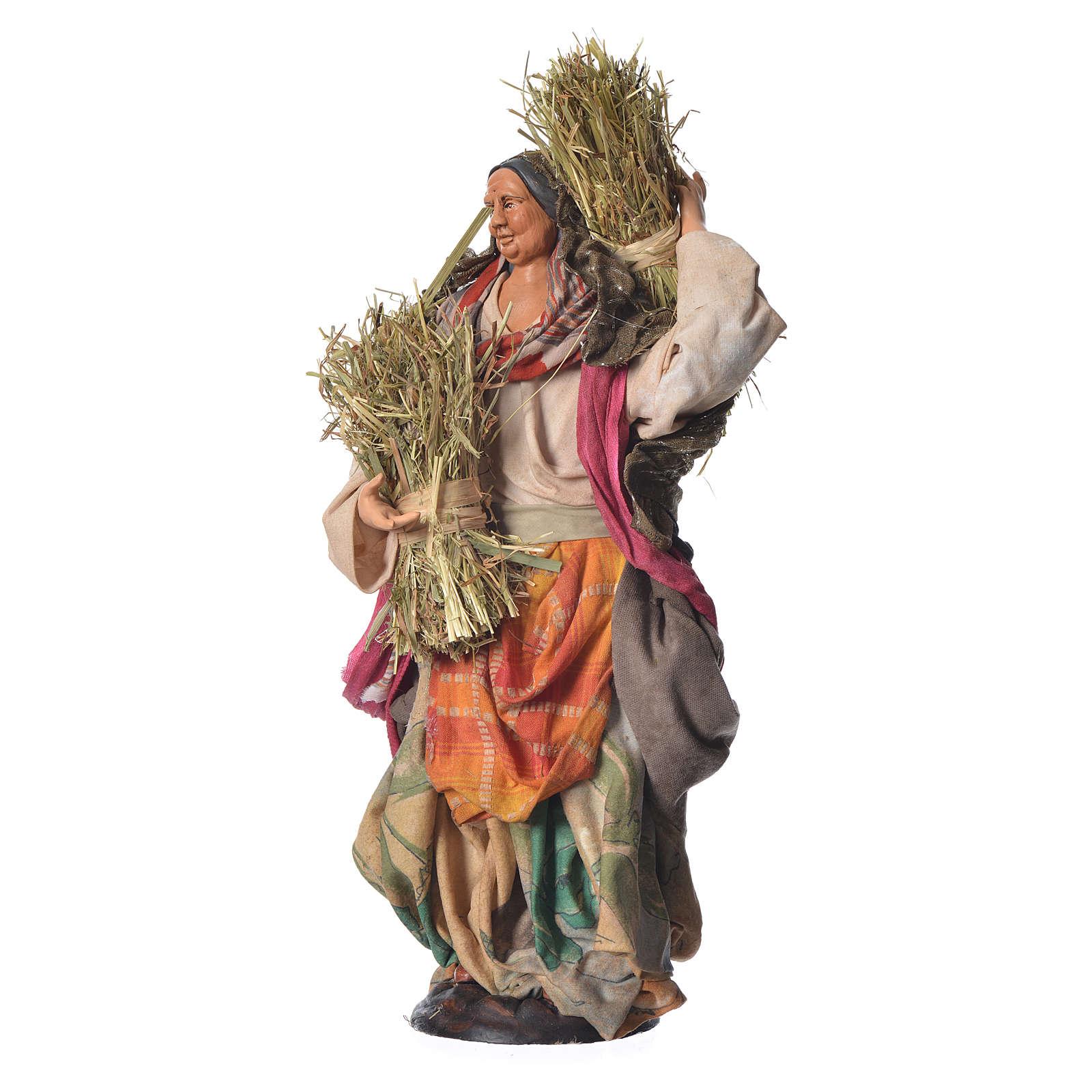 Woman with straw, 30cm Neapolitan Nativity 4