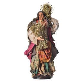 Woman with straw, 30cm Neapolitan Nativity s1