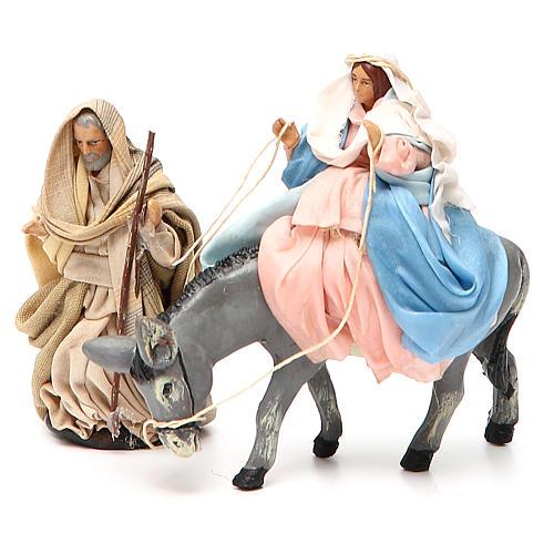 Virgen María embarazada sobre burro y José belén de Nápoles 8 cm 1