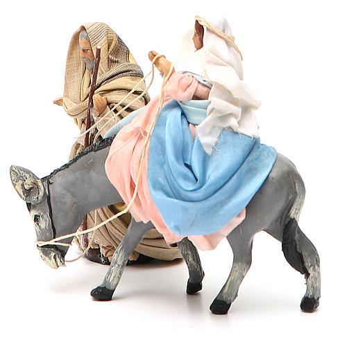 Virgen María embarazada sobre burro y José belén de Nápoles 8 cm 2