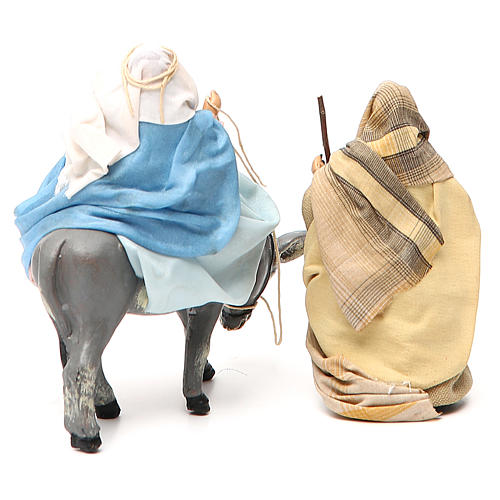 Virgen María embarazada sobre burro y José belén de Nápoles 8 cm 3