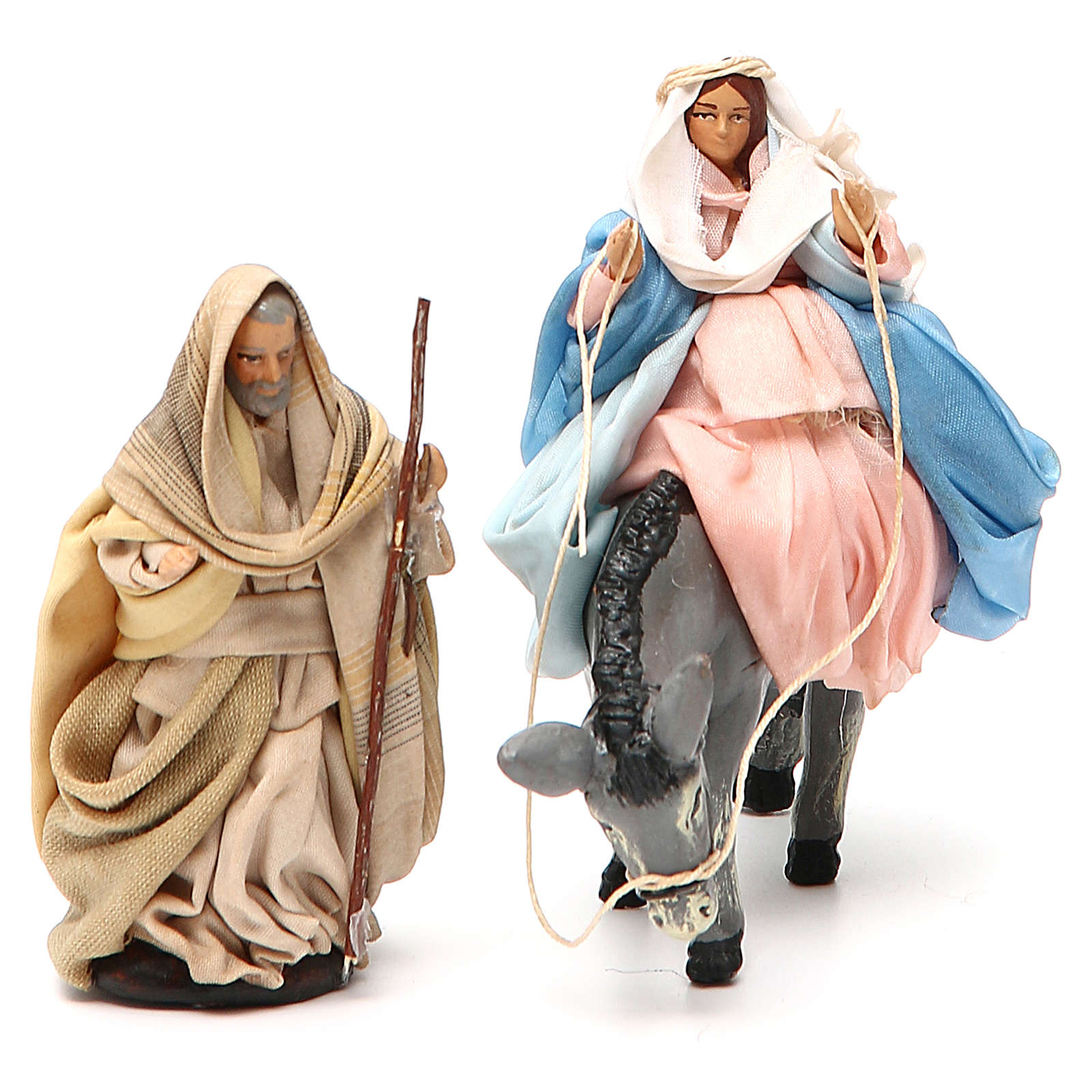 Expecting Mary on donkey & Joseph 8cm neapolitan nativity scene 4
