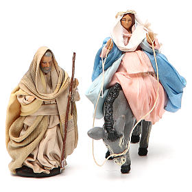 Expecting Mary on donkey & Joseph 8cm neapolitan nativity scene s4