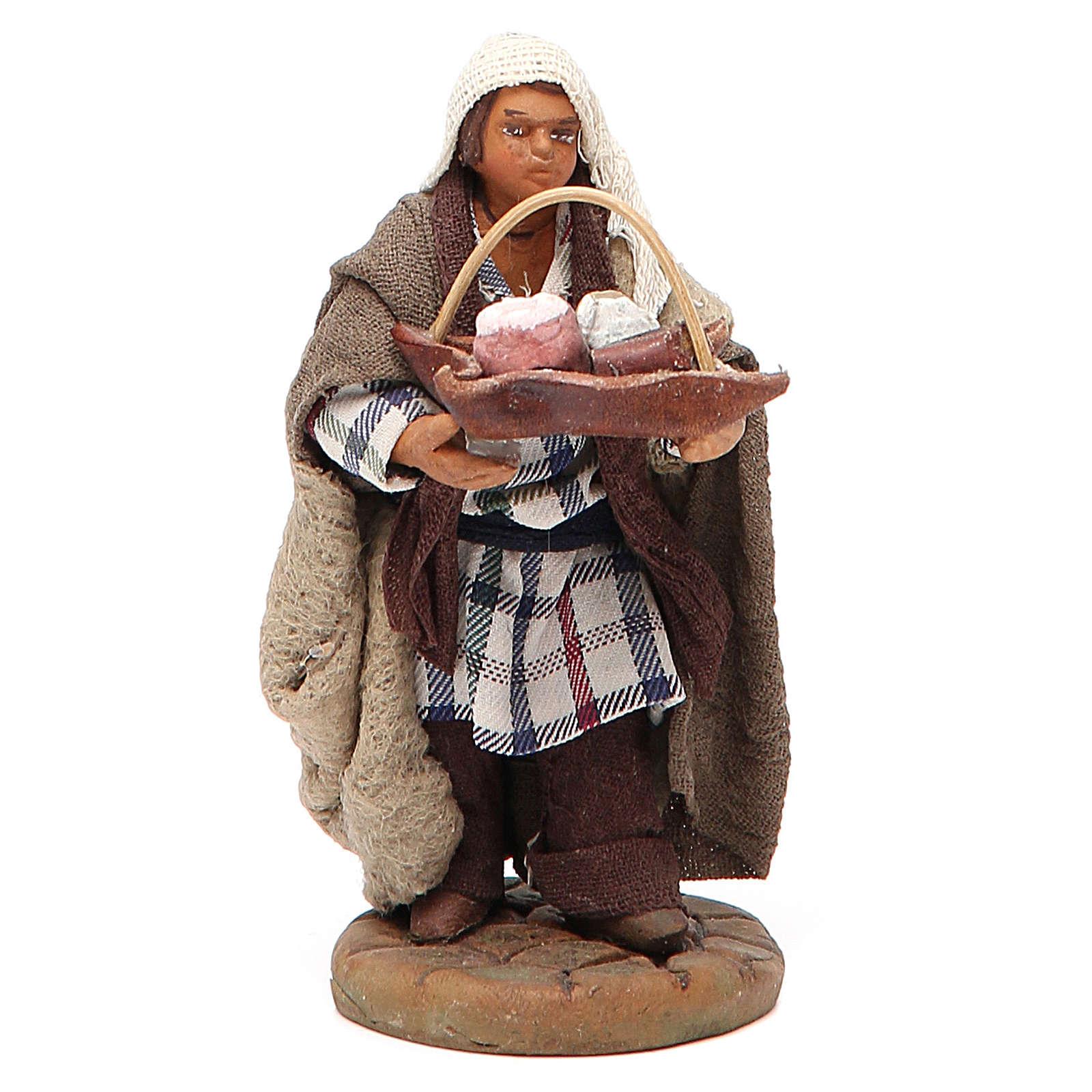 Man holding basket of cured meats, Neapolitan nativity figurine 10cm 4