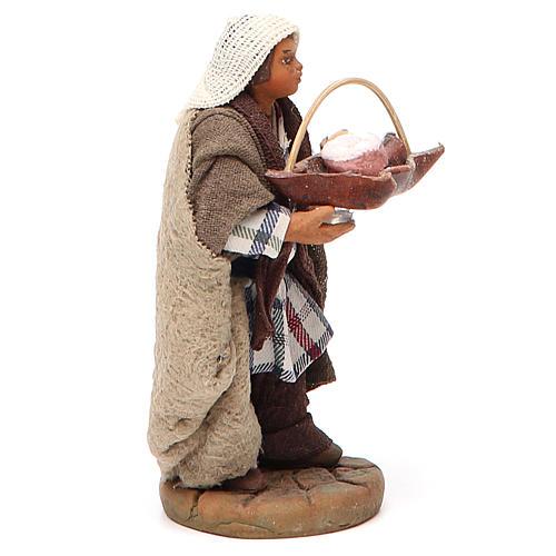 Man holding basket of cured meats, Neapolitan nativity figurine 10cm 2