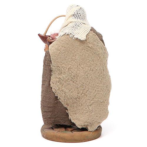 Man holding basket of cured meats, Neapolitan nativity figurine 10cm 3