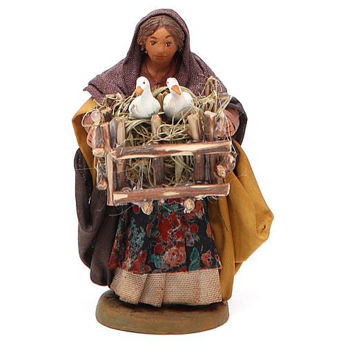 Woman with cages holding two ducks, Neapolitan nativity figurine 10cm 1