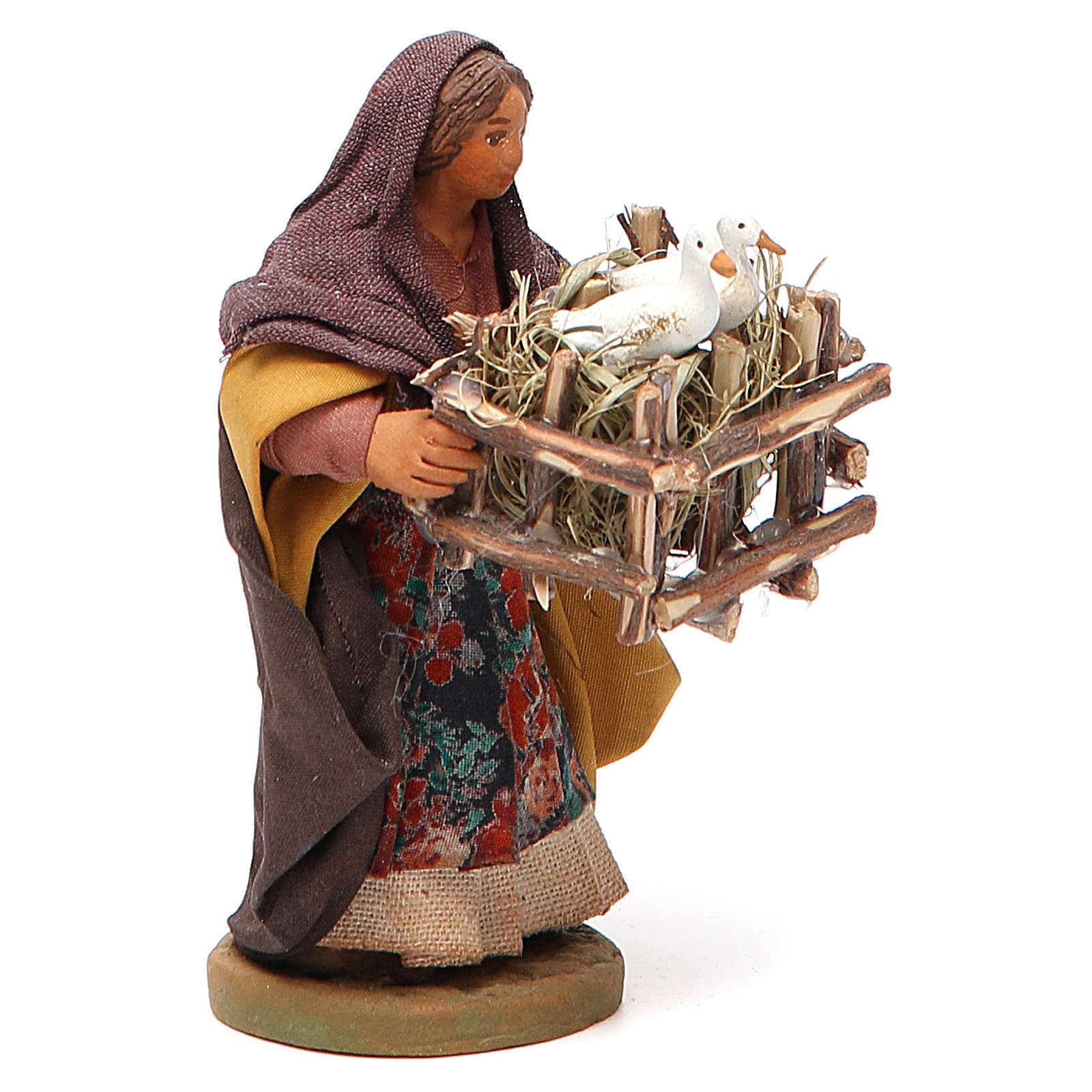 Woman with cages holding two ducks, Neapolitan nativity figurine 10cm 4