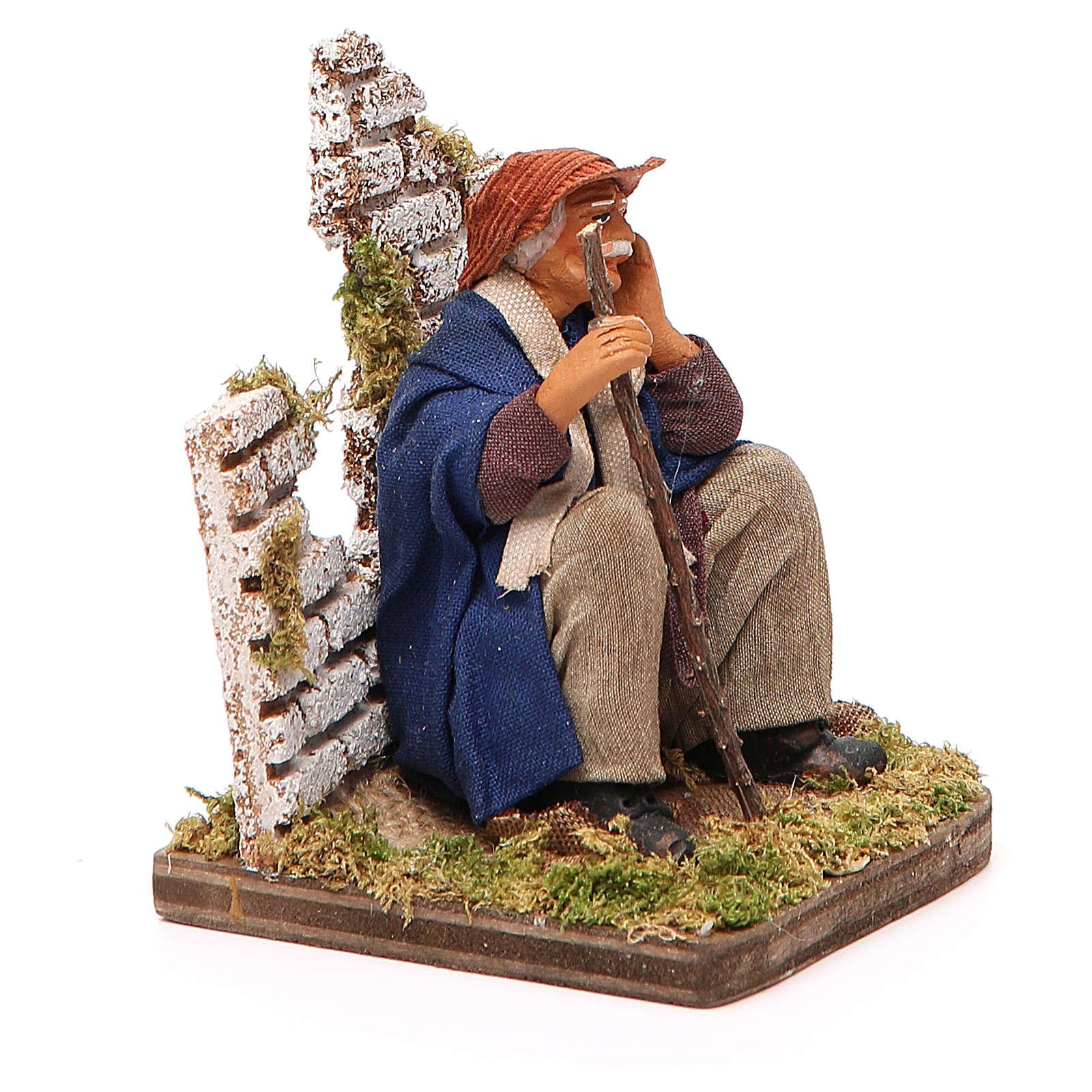 Homme pensif assis 12 cm crèche napolitaine 4