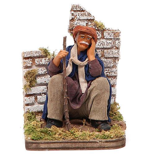 Homme pensif assis 12 cm crèche napolitaine 1