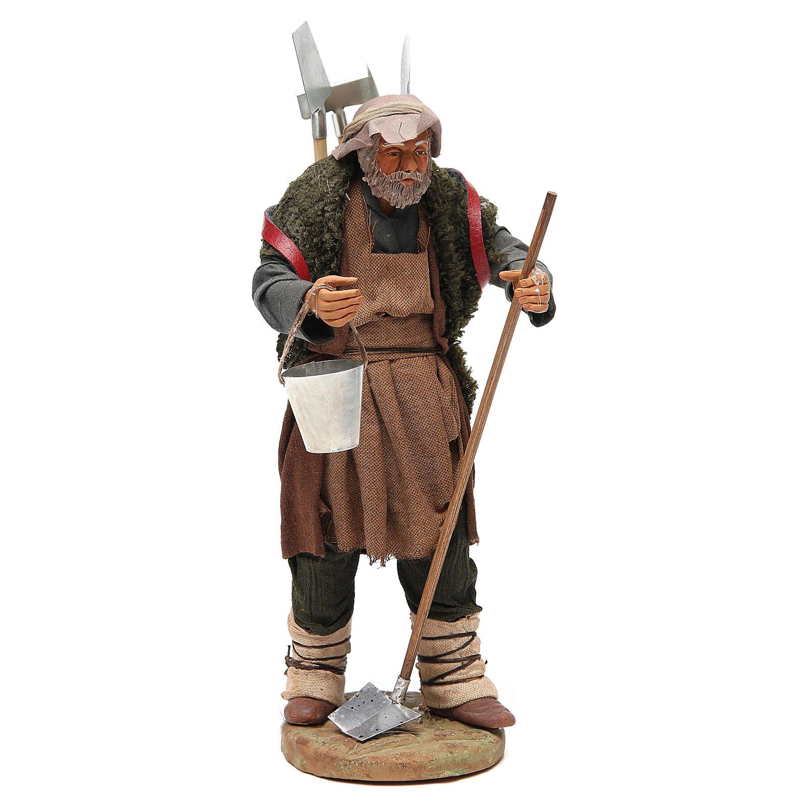 Man with farming tools, Neapolitan nativity figurine 24cm 4