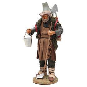 Man with farming tools, Neapolitan nativity figurine 24cm s2